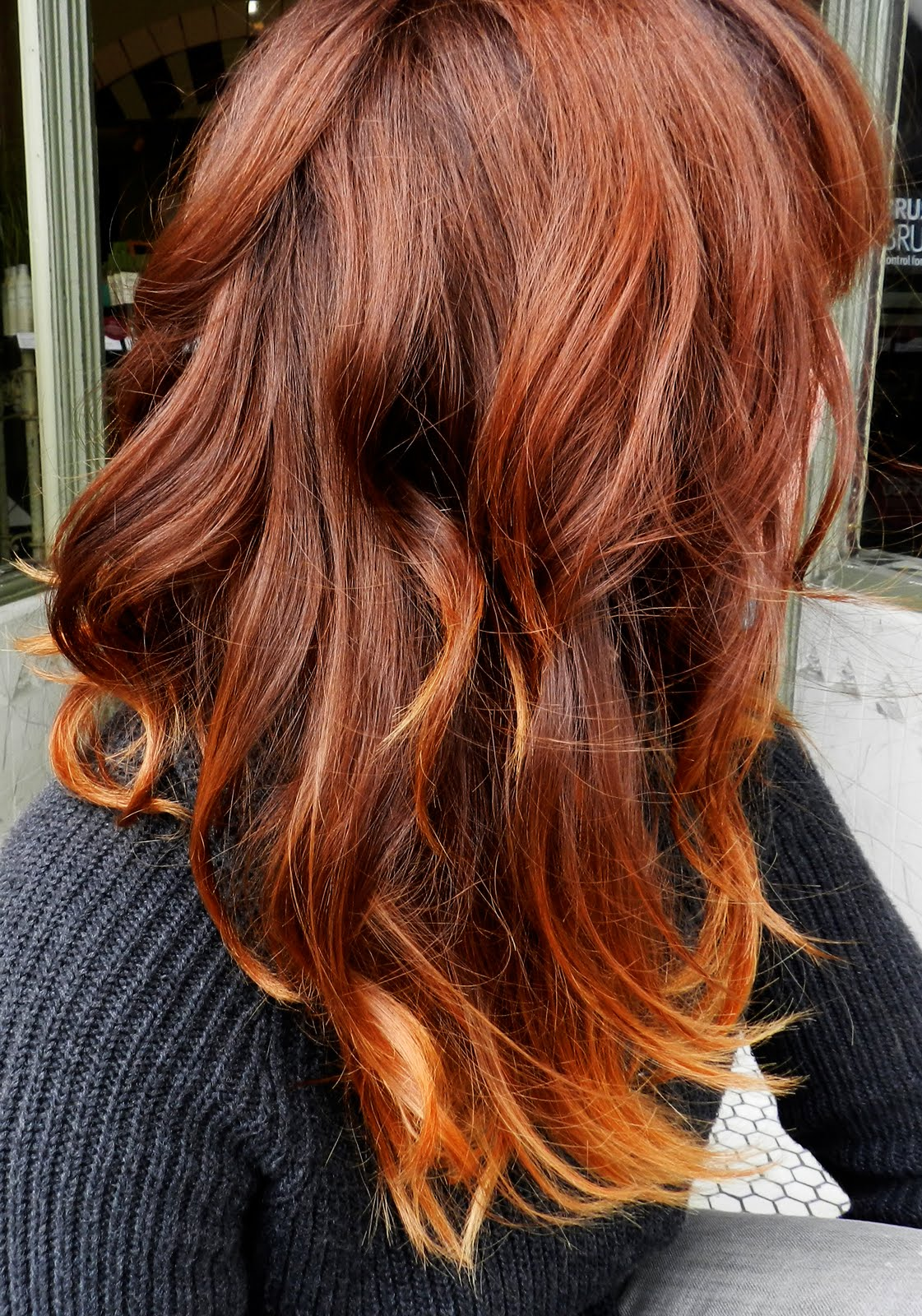 Brown hair with colored tips